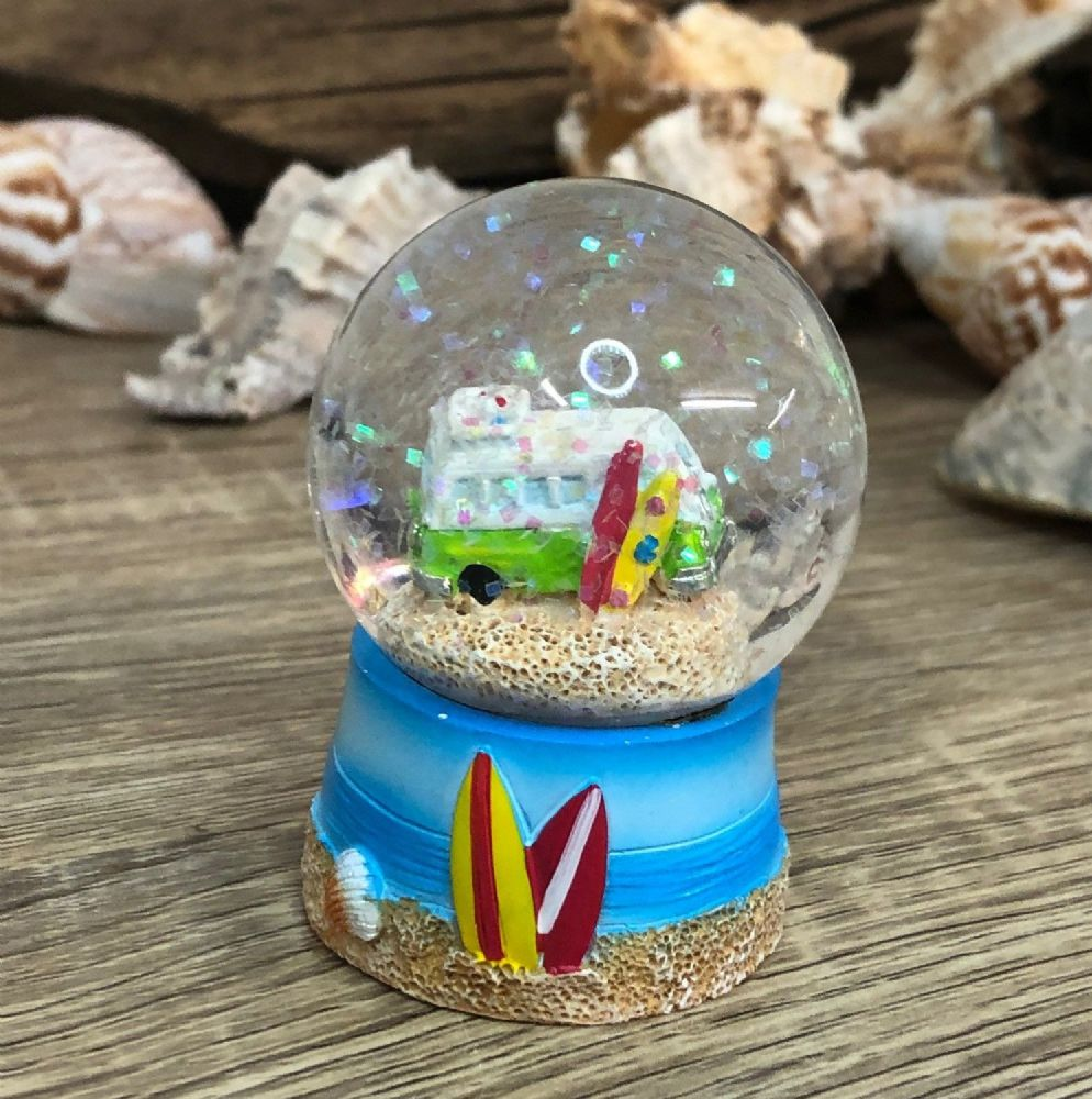 Green Campervan Surfer Beach Theme Snow Globe